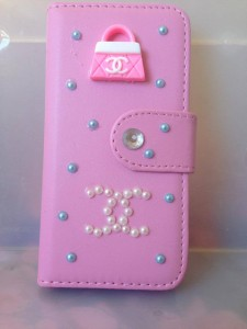 this channel inspired phone case is perfect to add a little glam to your phone!